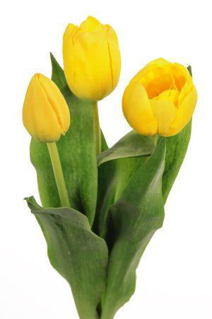 Tulpan 3-pack gul, konstgjord blomma-0