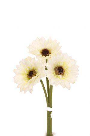 Gerbera, vit 3-pack, konstgjord blomma-0