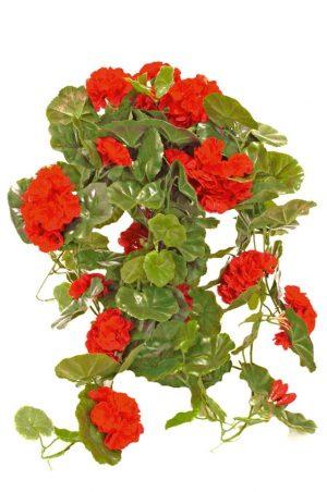 Hängpelargon, röd, konstgjord krukväxt, blomma-0
