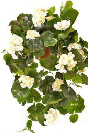 Hängpelargon, vit, konstgjord krukväxt, hängväxt-0