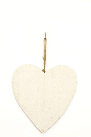 Hjärta trä, vitt-0