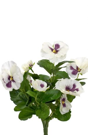 Pensé, vit, konstgjord blomma-0
