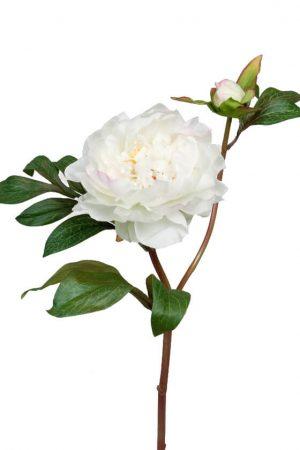 Pion med knopp, vit rosa, konstgjord blomma-0