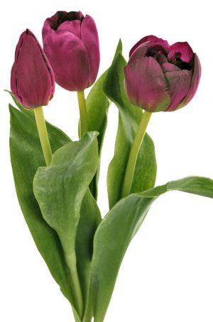 Tulpan 3-pack, mörklila-konstgjord blomma-0