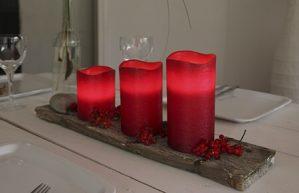 Vaxljus, rött, LED med timer-5731