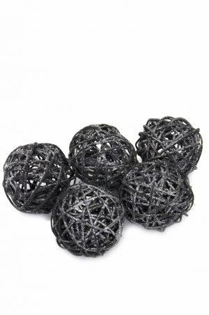 Glitterbollar, svart 5 st-0