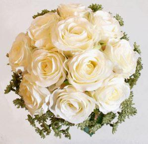 Brudbukett, rundbunden, konstgjorda blommor-4296