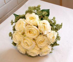Brudbukett, rundbunden, konstgjorda blommor-0