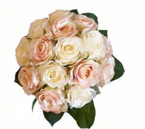 Brudbukett, rundbunden, konstgjorda blommor-4298