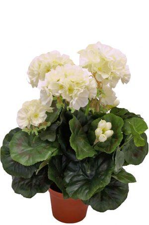 Pelargonia, vit, konstgjord blomma-0