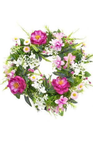 Krans, cerise rosor, konstgjord-0