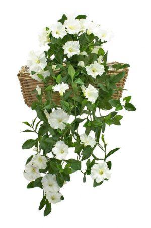 Petunia häng i kruka, vit, konstgjord-0