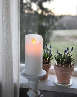 Vaxljus LED med timer & rörlig låga, vitt-0
