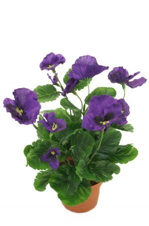 Pensé i kruka, blå, konstgjord blomma-0