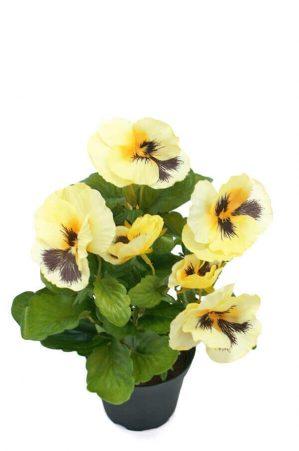 Pensé i kruka, ljusgul, konstgjord blomma-0