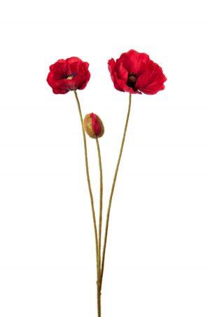 Vallmo, röd, konstgjord blomma-0