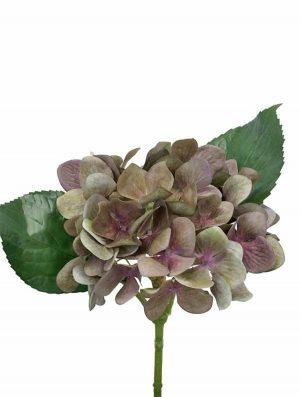 Hortensia, olivgrön lila, konstgjord blomma-0