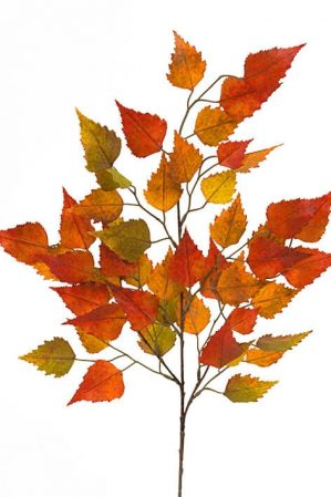 Björklöv, orange, konstgjord kvist,-0