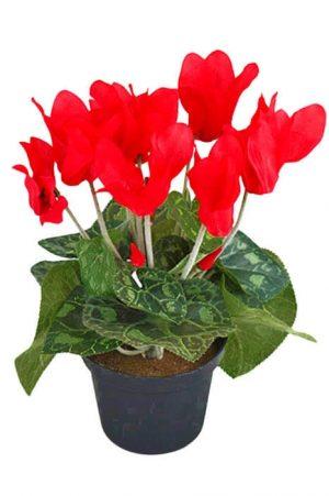 Cyklamen mini, röd, konstgjord krukväxt-0
