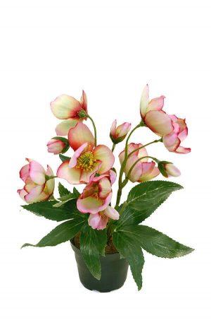 Julros i kruka, rosa, konstgjord blomma-0
