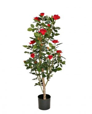 Ros i kruka, röd, konstgjord krukväxt-0