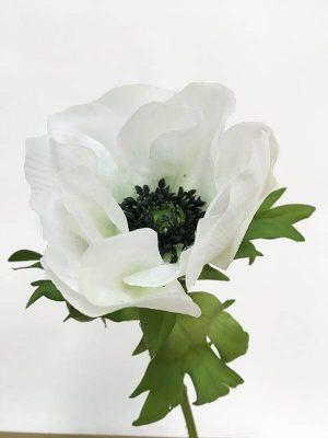 Anemon, vit med svart öga, konstgjord blomma-0