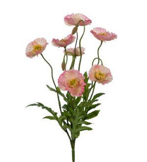 Vallmo, rosa, konstgjord blomma-0
