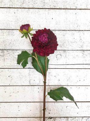 Dahlia med knopp, konstgord blomma vinröd-4371