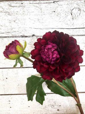 Dahlia med knopp, konstgord blomma vinröd-4370