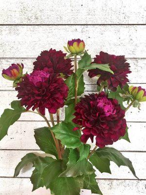 Dahlia med knopp, konstgord blomma vinröd-0