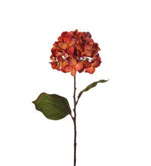 Hortensia, röd orange, konstgjorda blommor-0