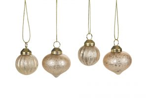 Julgranskula, 8 st minikulor guld mässing-0