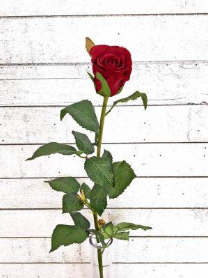 Ros, mörkt röd, konstgjord blomma-0