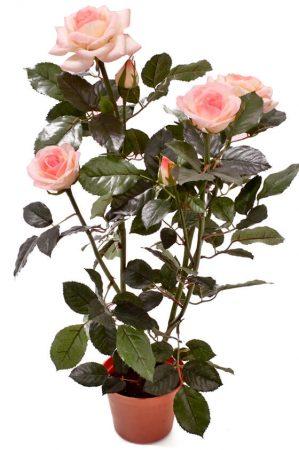 Ros i kruka, ljus rosa, konstgjord krukväxt-0