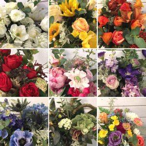 Handbunden bukett med konstgjorda blommor, floristens val-0