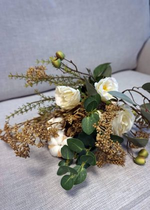 Bukett, Sweet Cotton, handbunden bukett med konstgjorda blommor-0