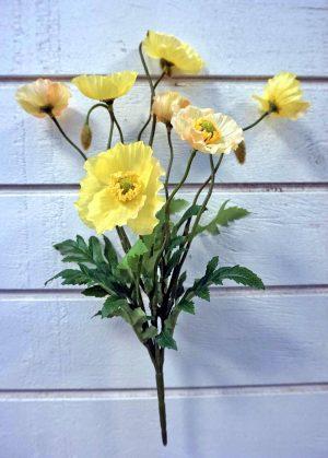 Vallmo, gul, konstgjord blomma-0