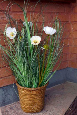 Vallmo, vit, konstgjord blomma-0