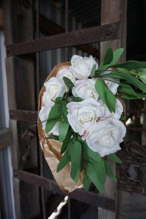 Ros, vit, konstgjord blomma-0