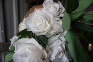 Ros, vit, konstgjord blomma-5822