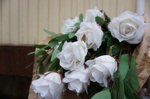 Ros, vit, konstgjord blomma-5823