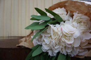 Hortensia, vit, rosa, konstgjord blomma-0