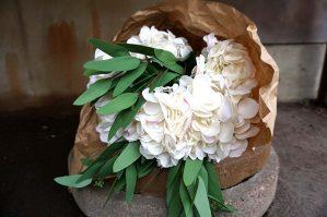 Hortensia, vit, rosa, konstgjord blomma-5892