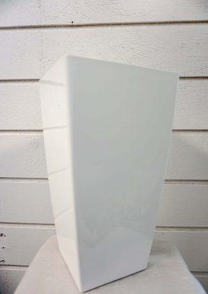 Plastkruka, vit, fyrkantig-5845