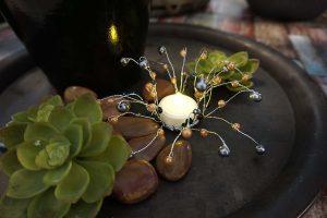 Pärldekoration, ljusmanchett med pärlor i svart, aprikos och grått-0