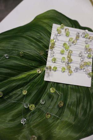 Pärltråd, kristall, lime och olivgrön-0