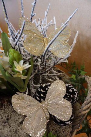 Fjäril, 2-pack, creme med glitter och mild olivgrön med glitter-0