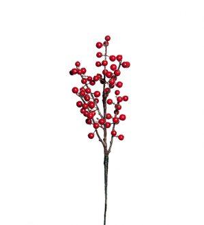Ilex, liten kvist järnek med röda bär, konstgjord-6097