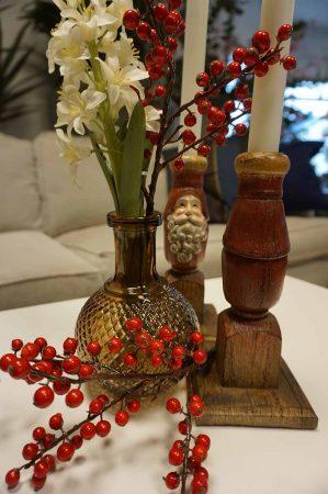 Ilex, liten kvist järnek med röda bär, konstgjord-6217
