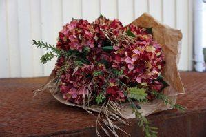 Hortensia, vinröd, konstgjord blomma-6068